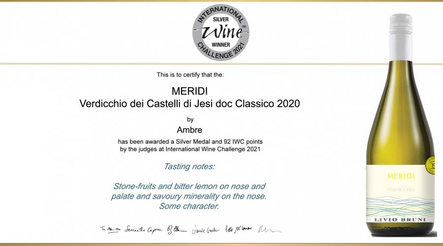 MERIDI - Verdicchio dei Castelli di Jesi doc Classico: Silver Medal IWC 2021