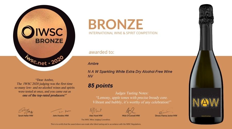 NAW sparkling: medaglia di bronzo IWSC 2020
